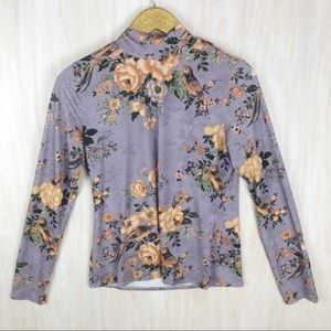 💥Zara Purple Floral Mock Neck Long Sleeve Shirt